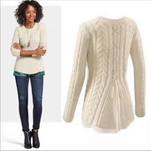 CAbi lace up sweater 3157 Cable Knit Oyster Ivory